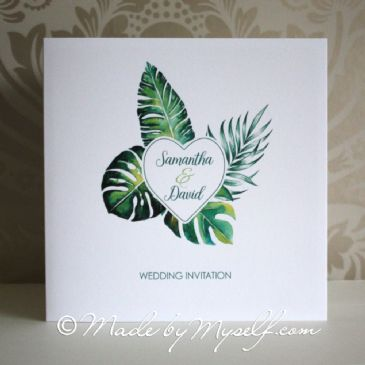 Tropical Leaf Heart Wedding Invitation